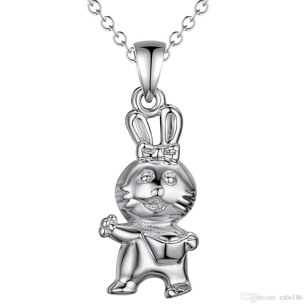 925 silver rabbit pendant necklace zodiac fashion jewelry cute birthday gift top quality hot
