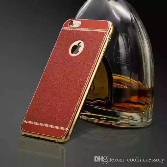 Para iphone 6 6 s plus i6s se 5 5S bling galvanoplastia suave tpu estojo de couro folheado de leechee colando chapeamento buraco telefone celular tampa da pele colorido