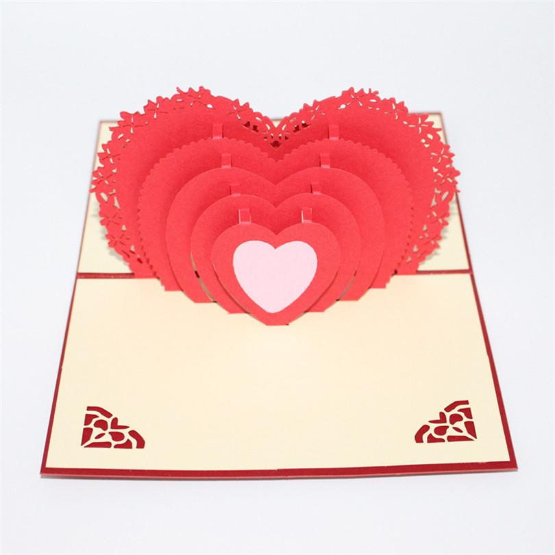 Greeting Card Handmade 3d Gift Paper Carving Love Heart Sweet