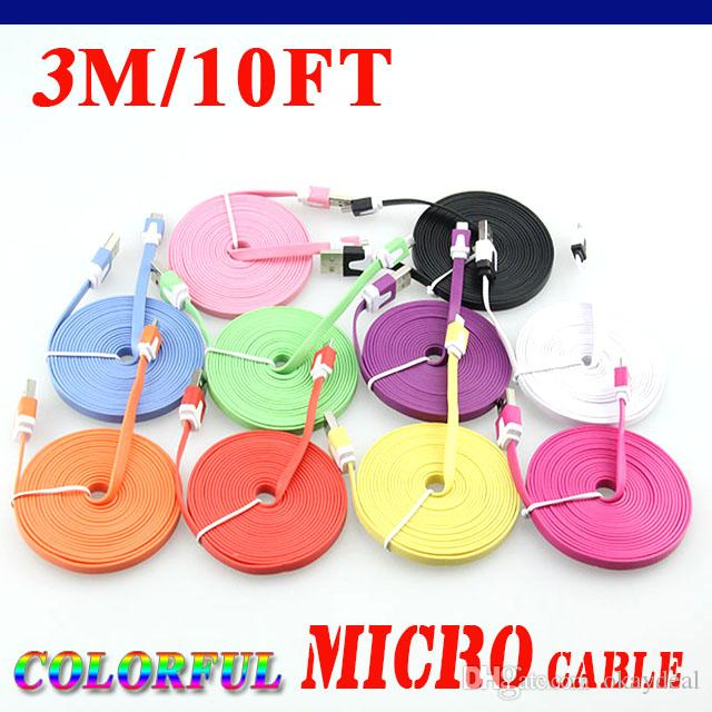 Cell phone 1M 2M 3M Colorful Noodle Flat Cable V8 Micro USB Data Charger Cable For Samsung Xiaomi i6 i7 Micro USB Cable