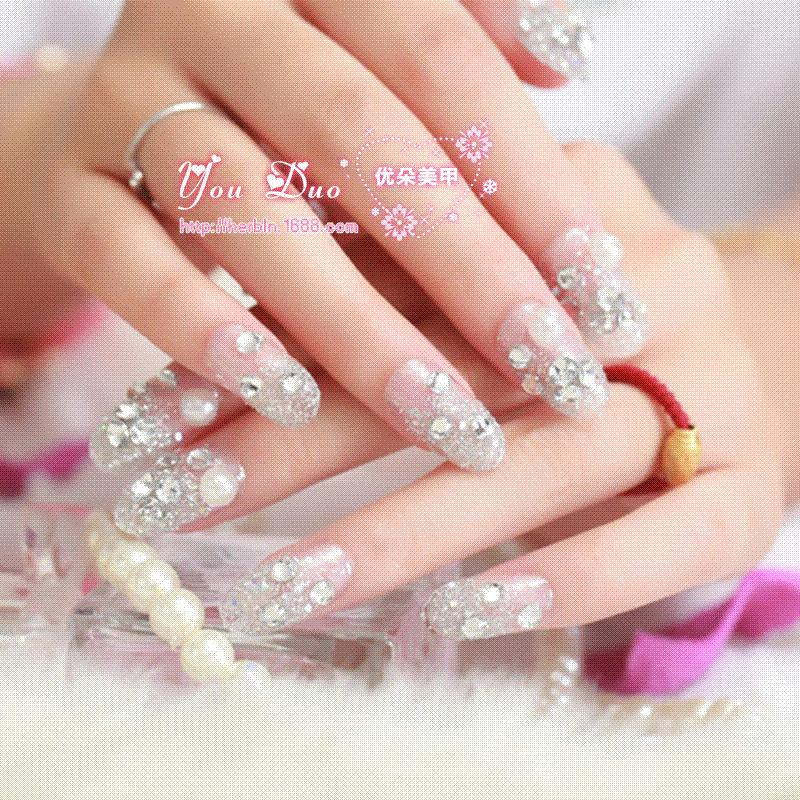 Long Style White Pearl False Nails Art Decoration,Daily Wear Ladies ...