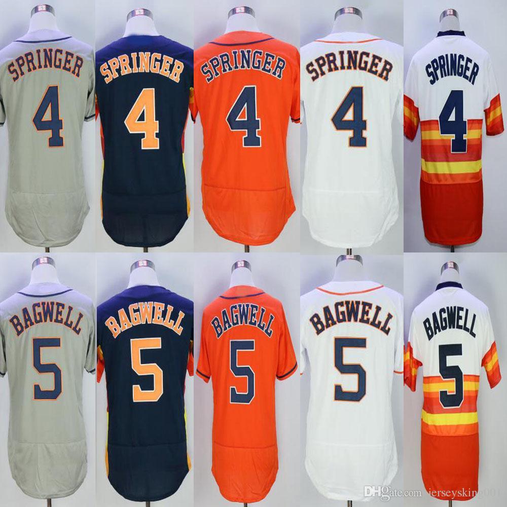 newest e8732 d26cd Embroidery Flex base Men s #4 George Springer #5 Jeff Bagwell  White/Blue/Grey/Orange/Rainbow Baseball Jerseys Free Drop Shipping