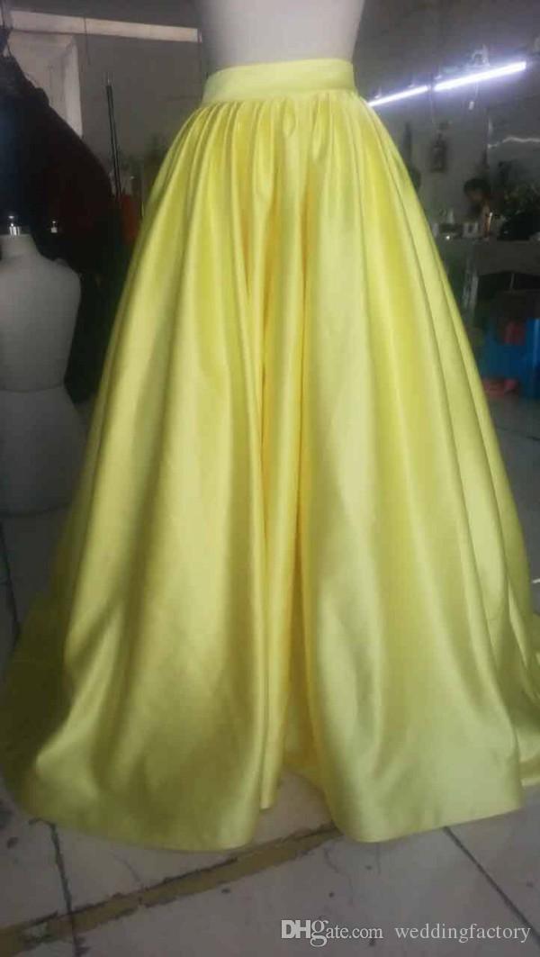 キラキラ2019 2ピースの女の子のページェントのドレスホルターネックノースリーブスパンコールクロップトップライトイエローキッズフォーマルガウンの本物のイメージ