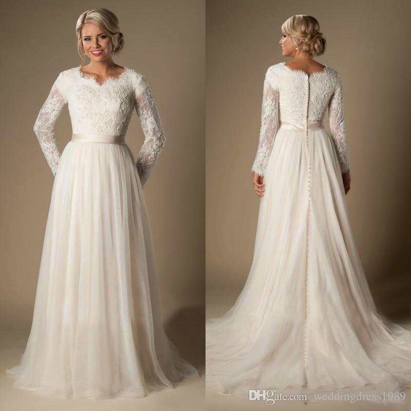 Discount Vintage Lace Long Sleeve Simple Wedding Dresses