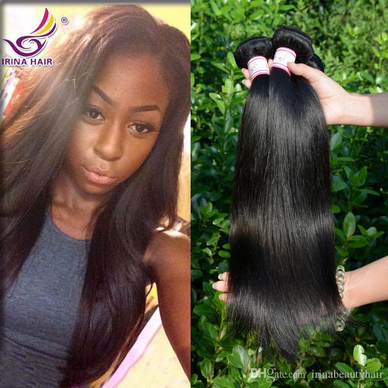 Малайзии прямые человеческих волос 3bundles с закрытия шнурка средней/бесплатно/3 пути человеческих волос