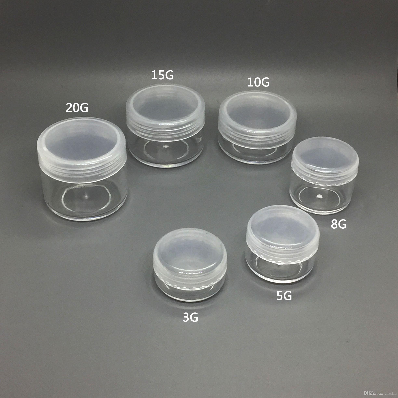 3 5 8 10 15 20 ML Round Clear Empty Plastic Container Jars Screw
