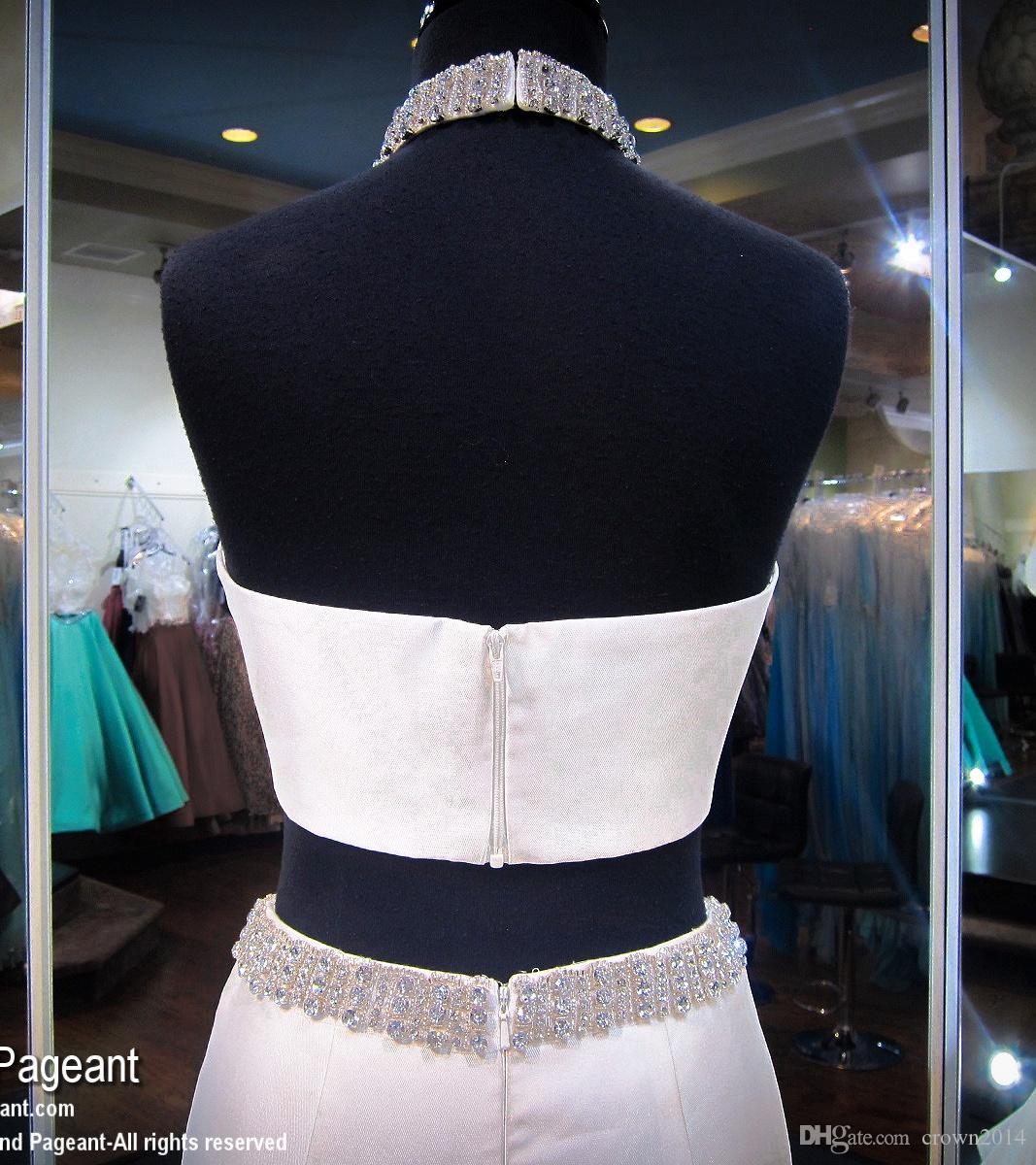 Avorio Illusion Ilusion Neck Due Piece Mermaid Prom Dresses 2021 Ruffle Beaded Formale celebrità Abiti da sera Elegante satinato all'aperto