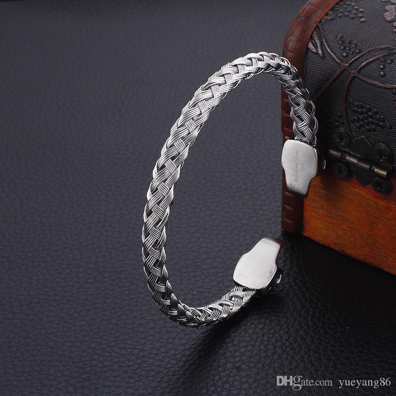 Bracciale rigido acciaio inossidabile argento Biker doppia testa teschio Estremità aperta Bracciale nodo Catena filo