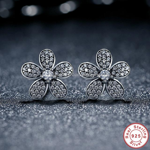 c0101c47f 2019 Dazzling Daisy Earring Studs 100% 925 Sterling Silver Pandora Style  Earrings For Women ER031 From Dorianicejewelry, $15.96 | DHgate.Com
