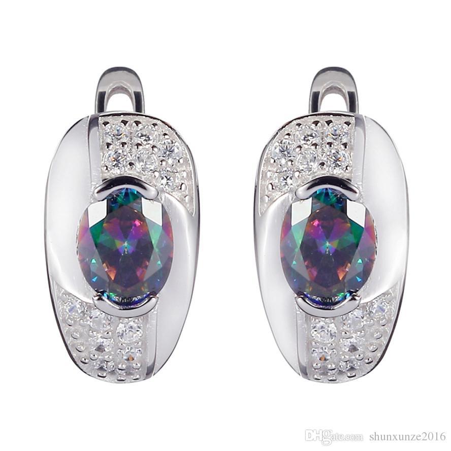 Argento sterling 925 cuore set anello / orecchino / pendente Noble generoso S-ssz # 6 7 8 9 Rainbow Fire Mystic Cubic Zirconia Punk