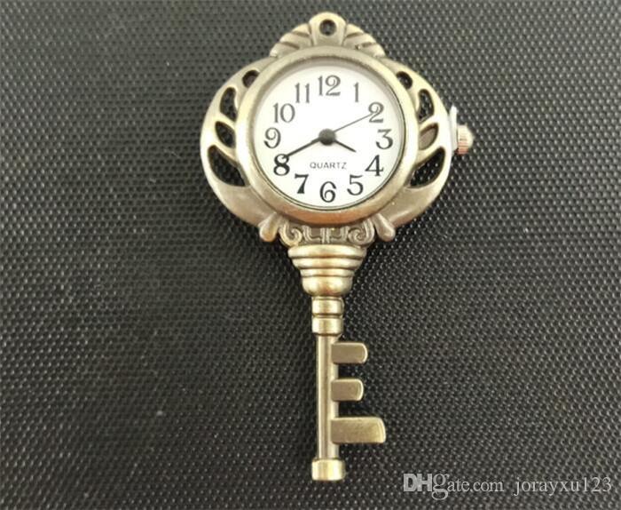 독특한 패션 빈티지 보석 Wholsale 블랙 앤티크 골드 컬러 키 포켓 시계 펜던트 목걸이 체인 J014와 함께