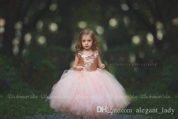 Rose Gold Sequins Blush Tutu Fleur Filles Robes Puffy Jupe toute la longueur Petit Enfant Nourrisson De Mariage Partie Communion Forml Robe