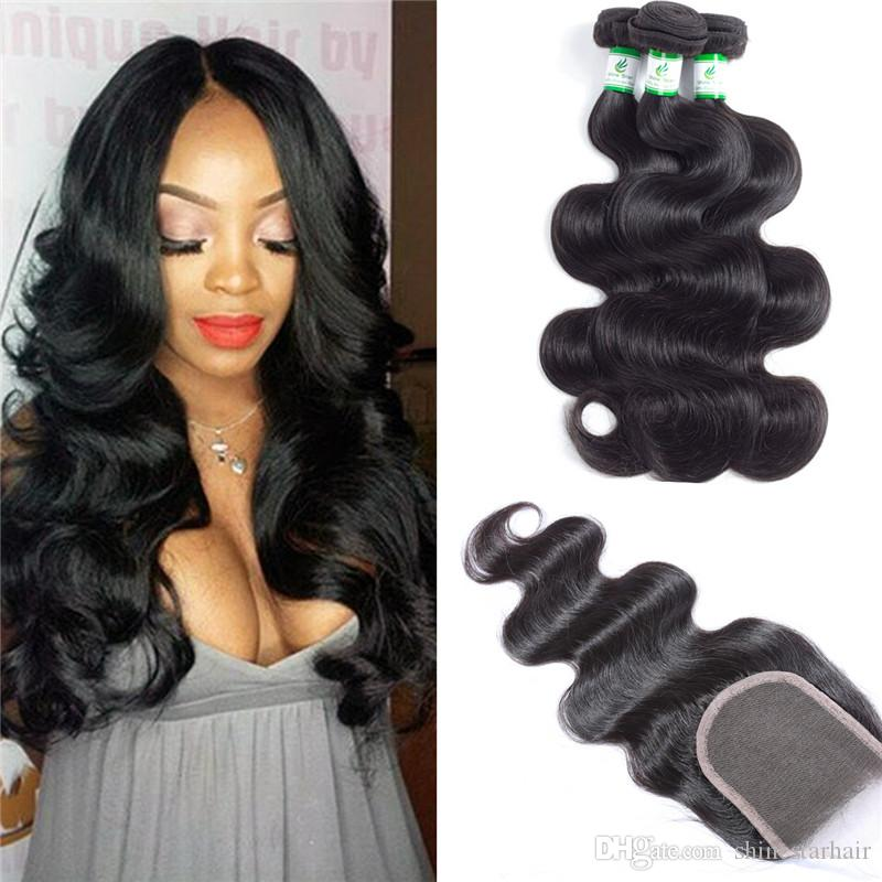 Unprocessed 7A Brazilian Body Wave Bundles with Closure Free Middle And 3 Way Part Virgin Brazillian Hair With Closure Human Hair Bundles