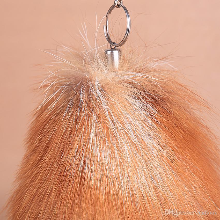 Fox Tail Fur Cosplay Toy Handbag bookbag Accessories Key Chain Ring Hook fur Keyring Tail Lucky Charm Fur Cute Soft Fluff Handbag Charms car