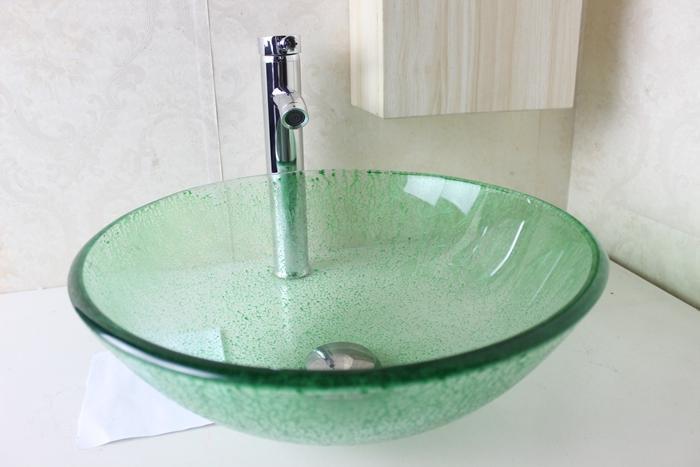 Acquista lavandino del bagno lavabo lavandino in vetro - Lavandino in vetro bagno ...