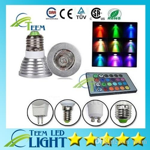 DHL RGB 3W E27 GU10 Led lamp Light E14 GU5.3 85-265V MR16 12V Led Spotlights lighting bulb 16Colors Change + IR Remote Controller