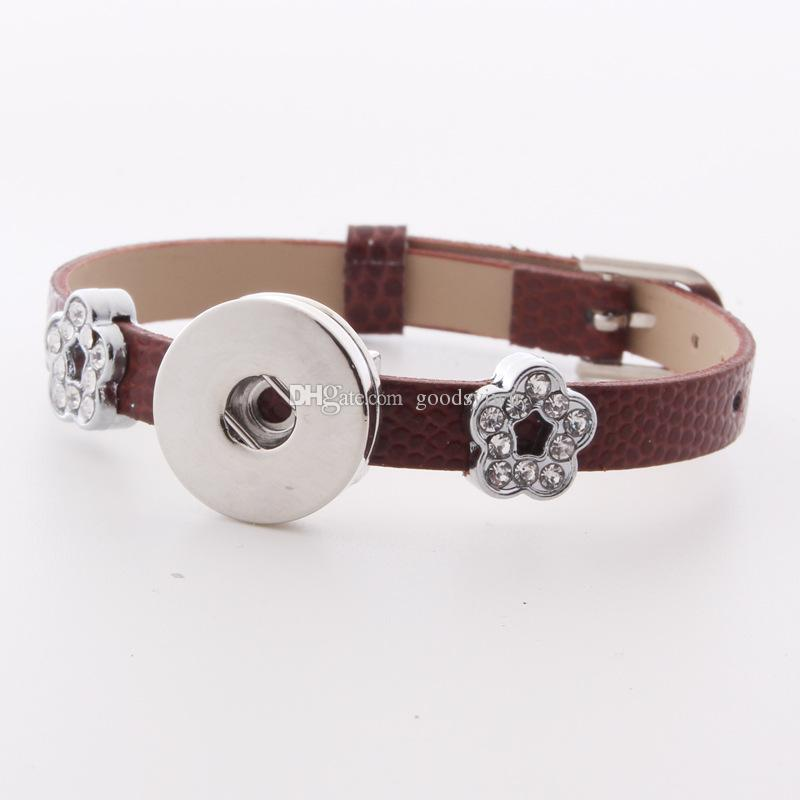 Fashion Watch Band buckle 18mm Snap Button Leather Bracelet Crystal Flower Spacer DIY Interchangable Noosa Chunks Charms Jewelry Z84