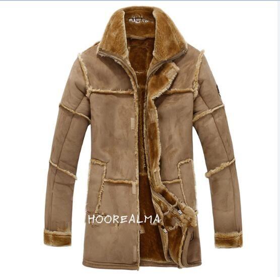 Herbst-Winter-nordischen Stil warme Herrenbekleidung Herren Lederjacke mit Fell Vintage lange Wildlederjacke Mantel die neue Ankunft