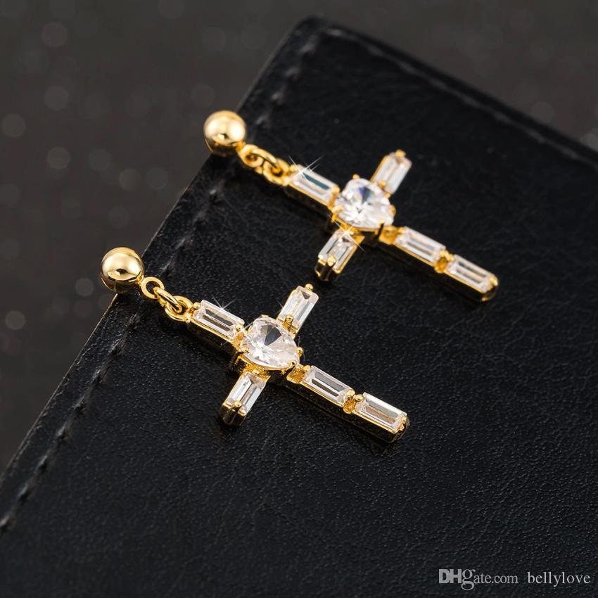Fashion Jewelry Clear Cubic Zirconia CZ Cluster 18K Yellow Gold Plated Cross Stud Earrings for Women