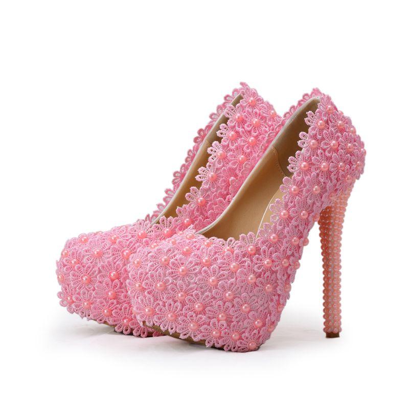 Spitze-Blume mit Perlen-Absatz-Schuhe Schöne Hochzeit Schuhe Brautabsatzschuhe Brautjungfer Schuhe Weiß / Grün / Pink