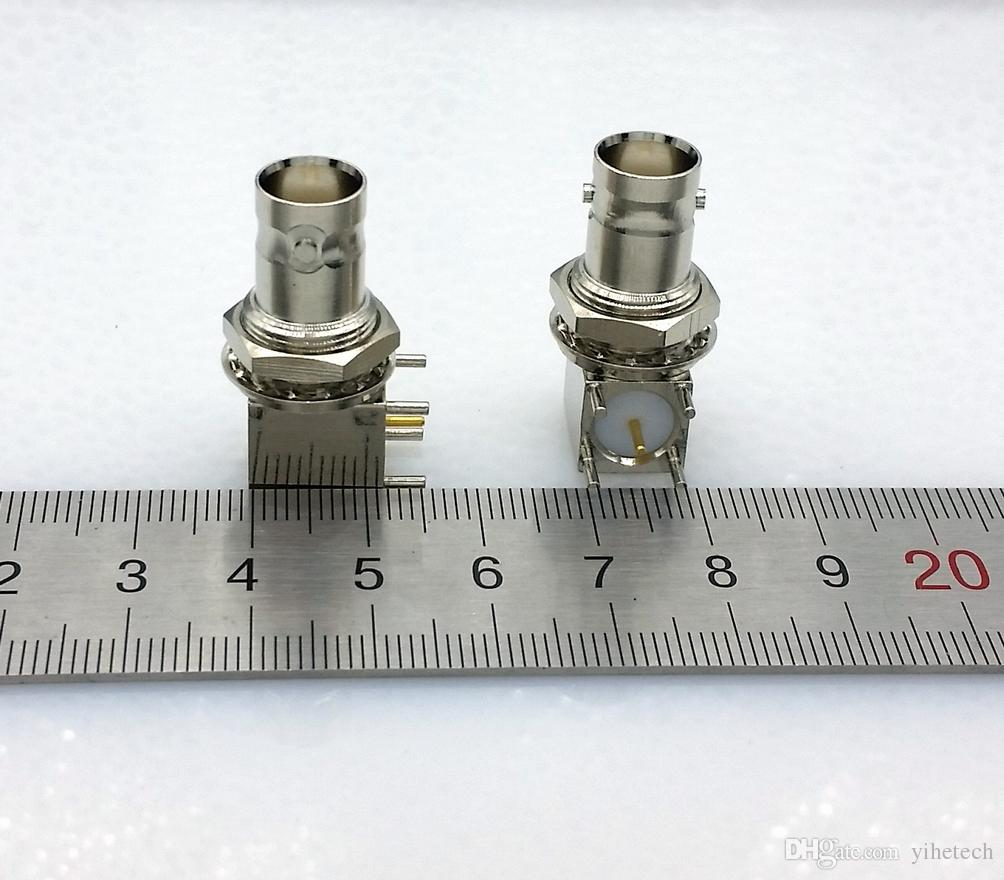 5pin copper plating nickel RF Coaxial Connector BNC Female socket bulkhead Right Angle PCB Mount BNC Connector
