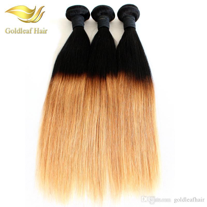 Pelo humano al por mayor del pelo de Ombre de dos tonos que teje paquetes de la trama de las extensiones del pelo de T1B 27 Ombre
