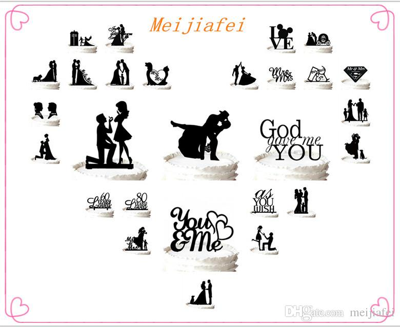 Bride and Groom Silhouette Wedding Cake Topper Mr & Mrs Cake Topper ,for option