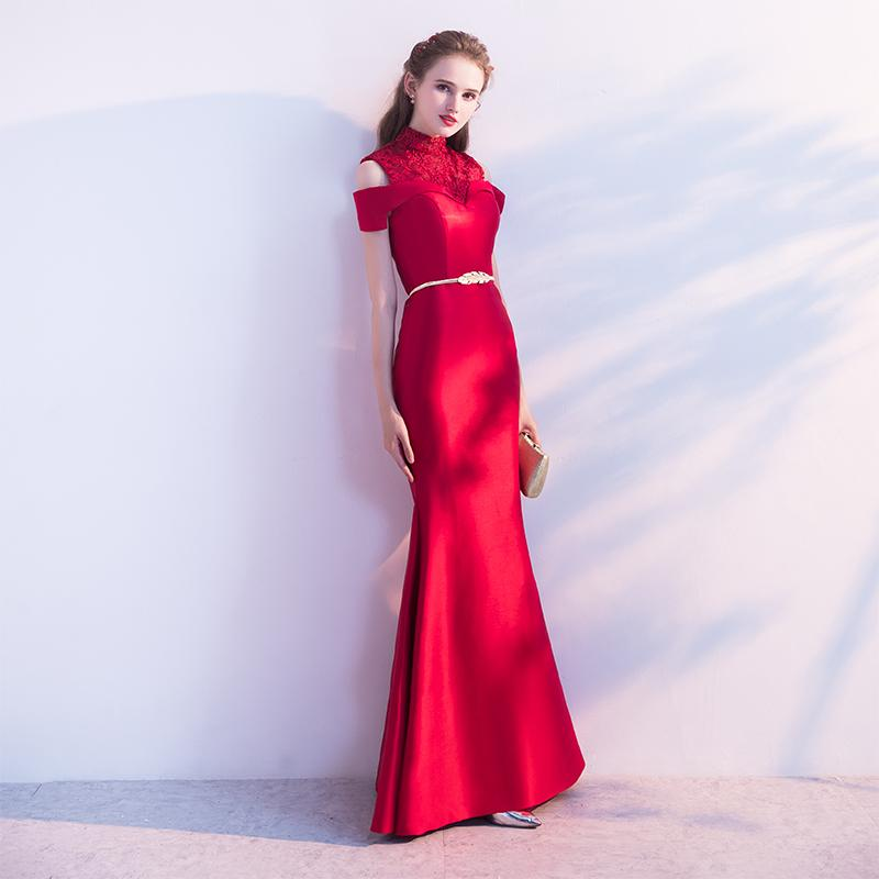 f7fc3545d86e3 SSYFashion New The Bride Married Banquet Red Lace Satin Mermaid Evening  Dress Sexy Slim Floor Length Fishtail Prom Party Gown Juniors Prom Dresses  Lds Prom ...