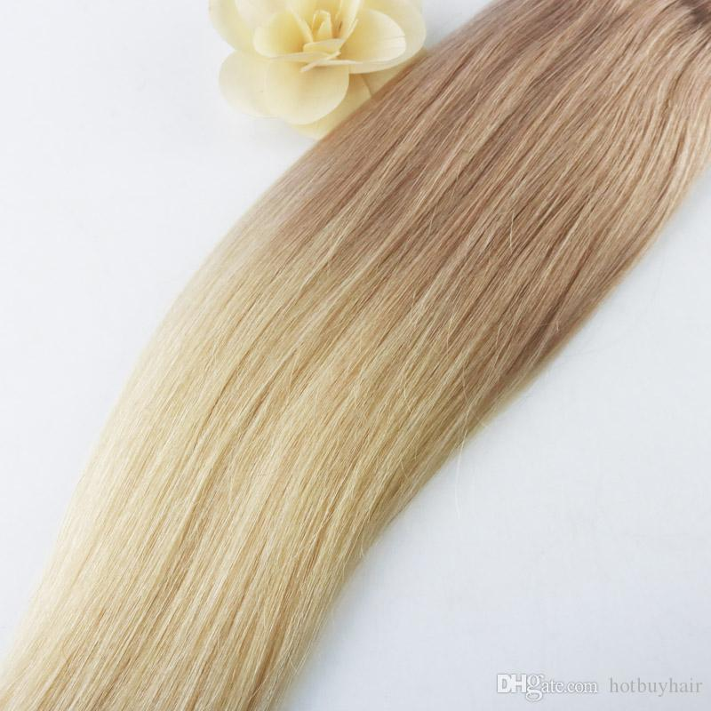 Free Packs Brazilian Raw Virgin Omber Color #18 Fading to #613 Human Hair Weave Brazilian Straight Hair Extensions