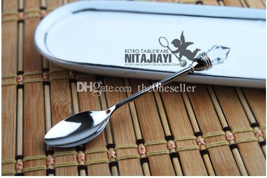 Bar Colher Lata De Zinco Lotes 10.2 cm 4 Cores Vintage Imitação De Diamante Mini Colher Catering Equipment Hire JJ0084