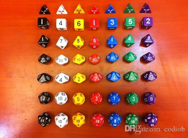 Jeu de dés multi face * D4 D6 D8 D12 D20 * D10 0-9 00-90 Bon prix haute qualité / set # D1