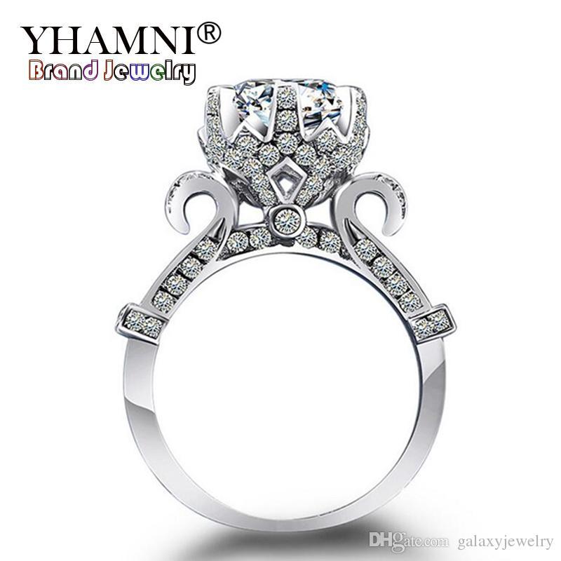 2019 Yhamni Luxury Women Lotus Flower Ring Original 925 Sterling