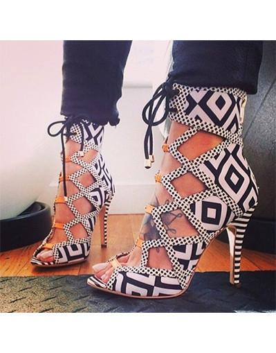 Geometric Zebra Strappy Heels Women Sandals Trendy Black White ...