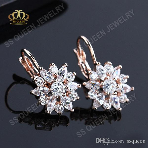 Anti-allergy 3 layers real 18k rose gold plated Sunflower brilliant high grade marquise cubic zircon clip earrings for girls and women