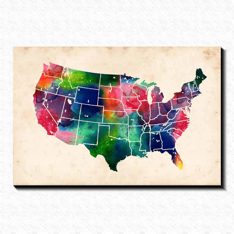2017 Watercolor US Map Painting Pictures Abstract Art Print On