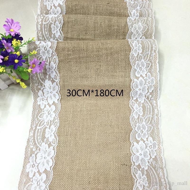 Klassischer Art Spitze-Leinen-Tabellen-Läufer, 30 * 180cm Hochzeitsdekorationen Tabellen-Läufer, elcome zum zu kaufen, freies Verschiffen
