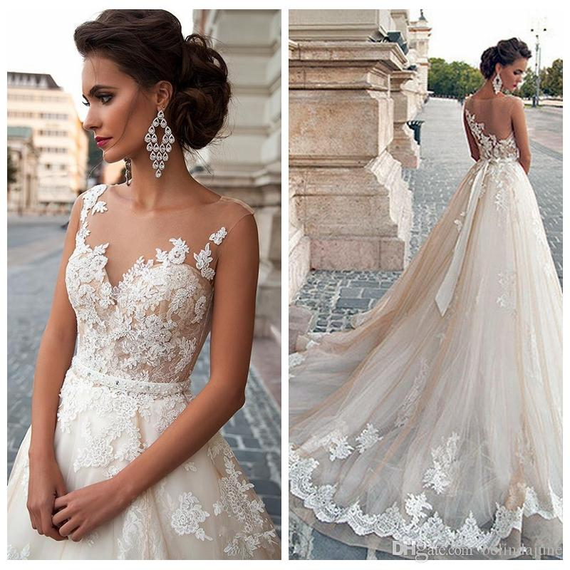 Wedding Gowns To Rent: Discount European Fashion Sheer A Line Women Wedding