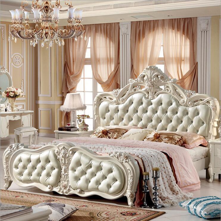 prezzo di fabbrica europeo moderno letto in legno massello Moda intagliato  1,8 m letto francese camera da letto mobili 10019