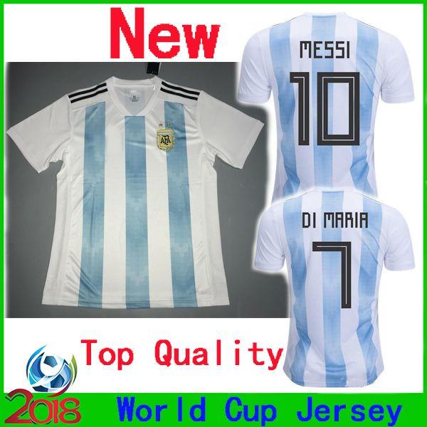 reputable site fe520 188e6 2018 World Cup Argentina Home #10 Messi DYBALA DI MARIA Soccer Jerseys Top  17 18 Argentine LAVEZZI AGUERO MUSACCHIO HIGUAIN Football Shirt