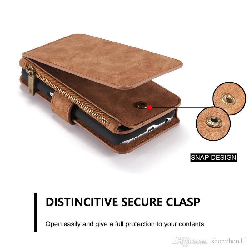 Для iphone 6 6plus S7 многофункциональный 2in1 Магнит съемный съемный старинные крышки PU кожаный бумажник чехол для Samsung Galaxy S5 SCA172