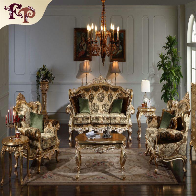 Mobili soggiorno classico barocco - Divano classico europeo con doratura  foglia oro - Mobili classici di lusso italiani