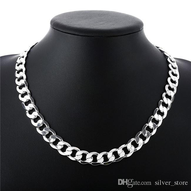 Heavy 66g 12mm Flat yanlara kolye Erkekler gümüş kolye STSN202, toptan moda 925 gümüş Zincirler kolye fabrika doğrudan satış