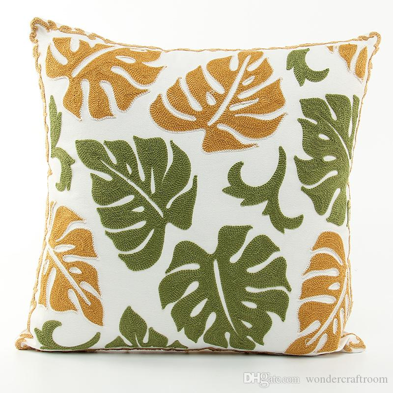 Tropical Summer Monstera Leaves Embroidery Cushion Cover Pastoral Style Art Embroidered Cushion Covers Sofa Throw Decorative Pillow Case
