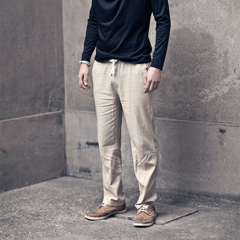 89b36795e4 Wholesale 2016 Men'S Linen Pants Summer Lightweight Elastic Waist Straight  Jogger Pants Beige Green Blue Black Gray Casual Trousers Men UK 2019 From  ...