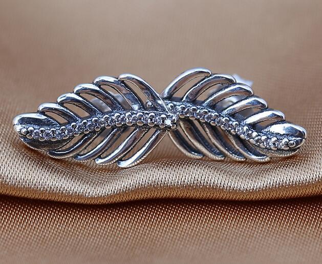 feather Earrings 100% 925 Sterling Silver Stud Earrings with Clear CZ Fits European Pandora Style Charmsa Jewelry DIY Earrings