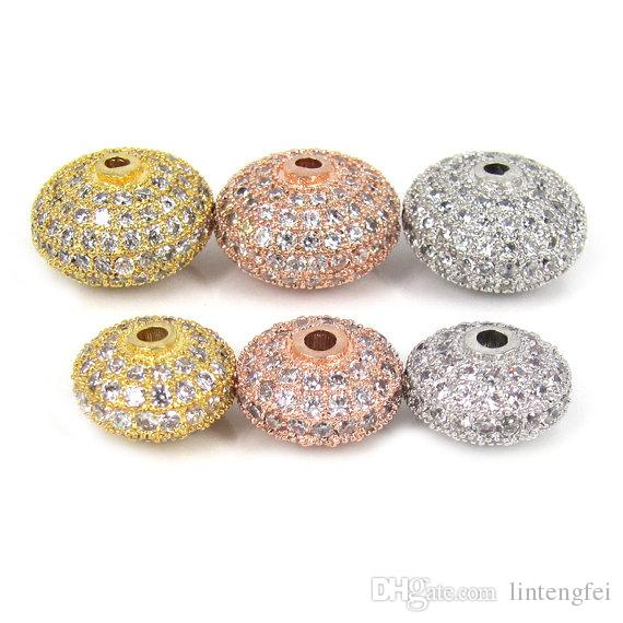 Wholesale Round wheel Donut spacer beads Micro Pave Diamond CZ Cubic Zirconia loose metal beads Charm Pendant DIY Jewelry Making