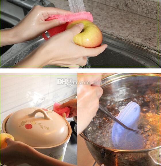 Sihirli Çanak Kase Pot Pan Yıkama Temizleme Fırçaları Sıcak Silikon Fırça Housekeeping Pişirme Aracı Temizleyici Süngerleri Ovma Pedleri Mutfak Aksesuarları