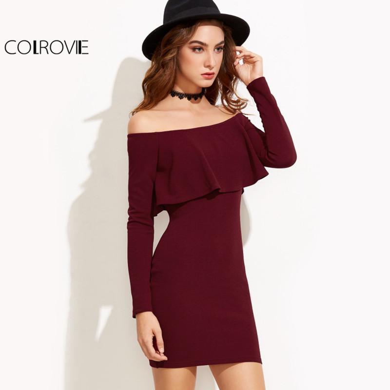 Acquista COLROVIE Manica Lunga Mini Dress Donna Autunno Inverno Abiti Da  Donna Sexy Bordeaux Off Spalla Volant Vestito Aderente Q1113 A  16.87 Dal  Shen07 ... dfb8843c8cb