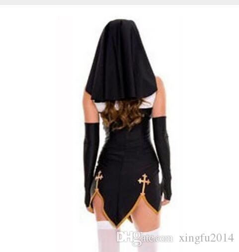 Sexy Nun Costume Adult Women Cosplay With Stockings Black Hoodie For Halloween Sister Cosplay Party Costume