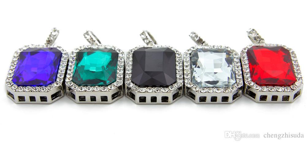 Collana di rubino Set di gioielli Set di gioielli in oro argento placcato in oro ghiacciato quadrato rosso pendente catena hip hop catena